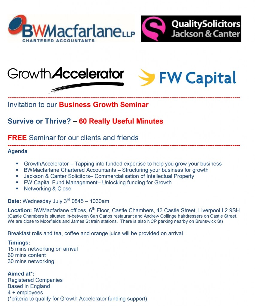 3 July Growth Accelerator Seminar